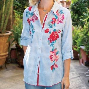 Soft Surroundings Striped Top, Floral Embroidery